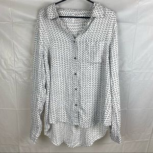 White & Black Long Sleeve Casual Blouse Size 16